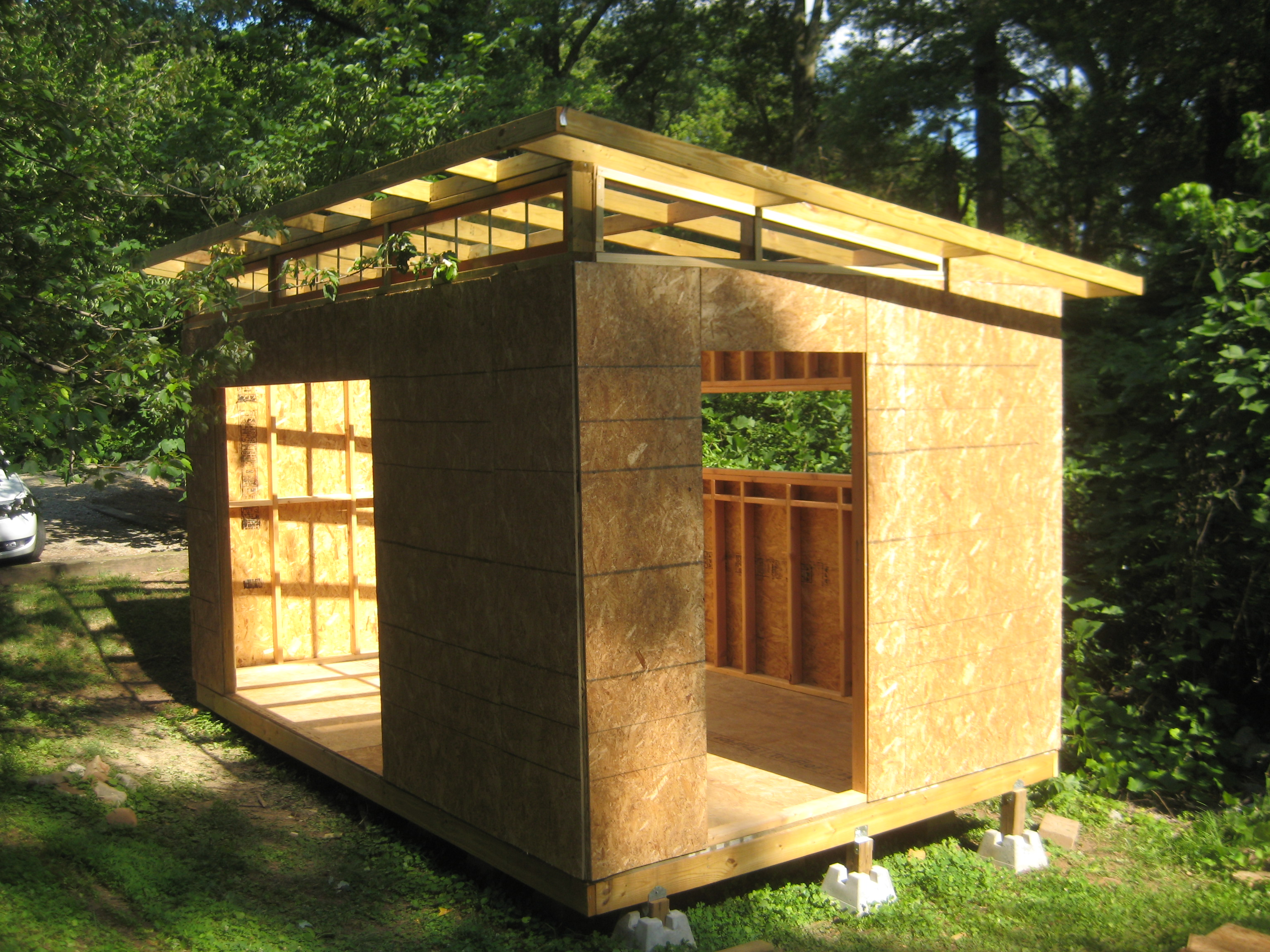 Diy modern shed project diyatlantamodern for Backyard garages